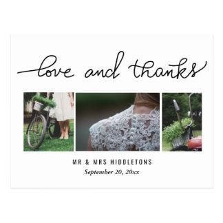 Wedding Love & Thanks Script | Three Photos Postcard