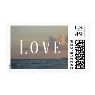 "Wedding ""Love"" Typography w/ Beach Dusk Photo Postage"