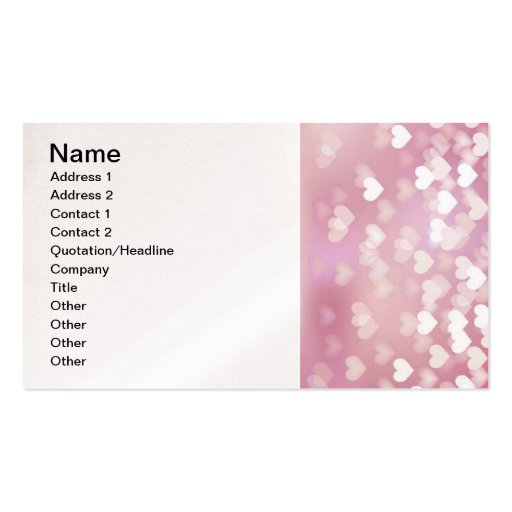 Wedding Love Vector Background shiny pink hearts Double-Sided Standard Business Cards (Pack Of 100)