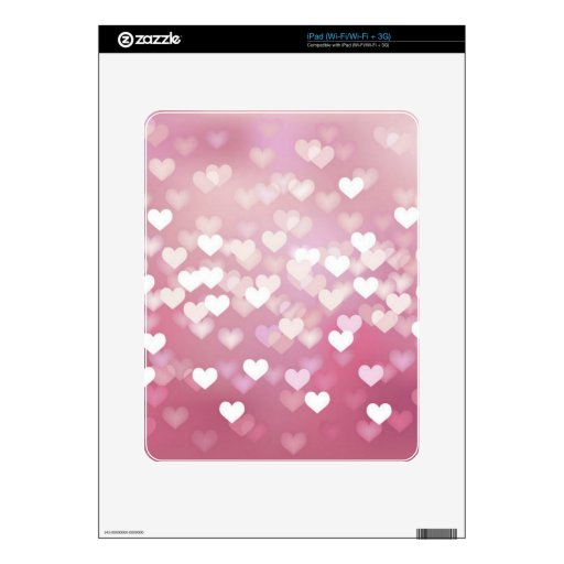 Wedding Love Vector Background shiny pink hearts Skins For iPad