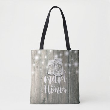 Bride Themed Wedding Maid of Honor Wood Mason Jar String Lights Tote Bag