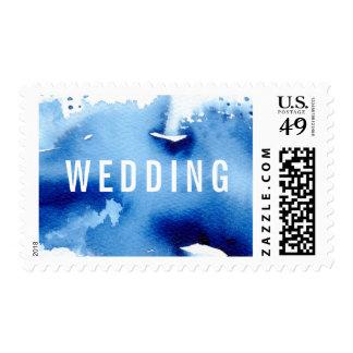 WEDDING MAIL stylish watercolor dark blue Postage