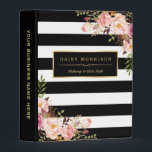 """Wedding Makeup Hair Style Pink Floral Stripes Mini Binder<br><div class=""""desc"""">================= ABOUT THIS DESIGN ================= Wedding Makeup Hair Style Pink Floral with Changeable Stripes Color. (1) You are able to CHANGE the Black Stripes to Any Color you like by clicking the &quot;Customize it&quot; button and setting the background color. (2) All text style, colors, sizes can be modified to fit...</div>"""