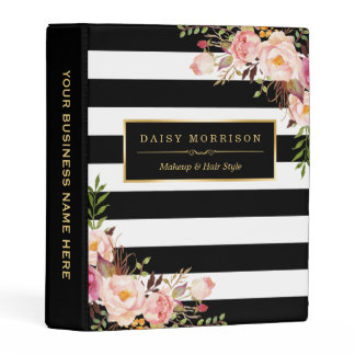Wedding Makeup Hair Style Pink Floral Stripes Mini Binder