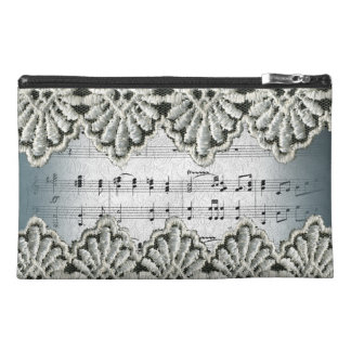 Wedding March Music Framed with Lace Trim Travel Accessory Bags