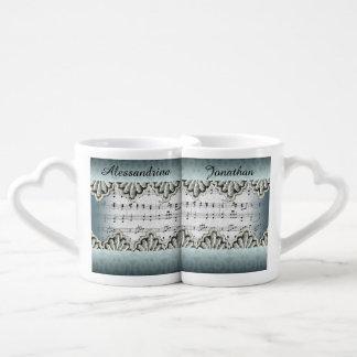 Wedding March Music Lace Trim Custom Names Coffee Mug Set