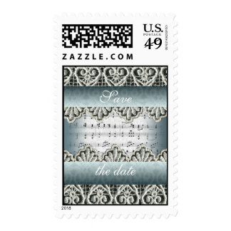Wedding March Music with Lace Customizable Postage Stamp
