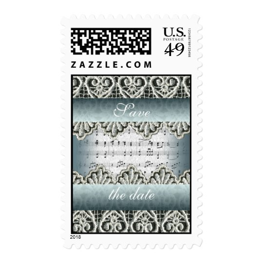 Wedding March Music with Lace Customizable Postage