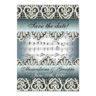 Wedding March Music with Lace Save the Date