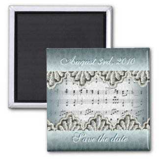 Wedding March with Lace 2 Inch Square Magnet