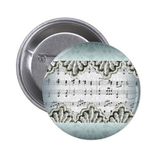 Wedding March with Lace Pinback Button