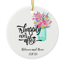 Wedding Married Couple Happily Ever After Ceramic Ornament