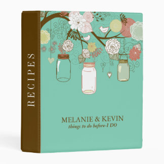Wedding Mason Jar Flowers & Birds Mini Binder