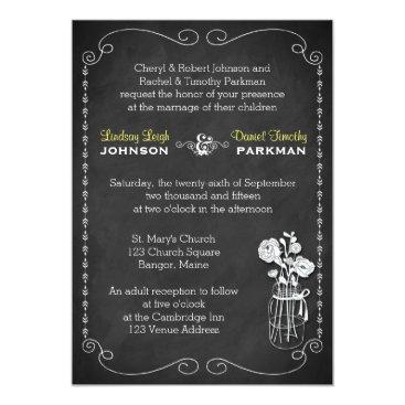 Wedding | Mason Jar, Flowers, Chalkboard 3 Card