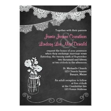 Wedding | Mason Jar, Lace Bunting | Chalkboard 3 Custom Announcement