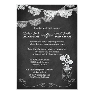 Wedding | Mason Jar, Lace Bunting | Chalkboard Custom Announcements