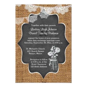 Wedding | Mason Jar, Lace, Burlap | Chalkboard Invites