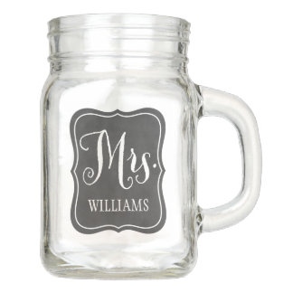 Wedding Mason Jar   Mrs. Chalkboard Design