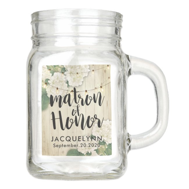 Wedding Matron of Honor Flowers String Lights wood Mason Jar