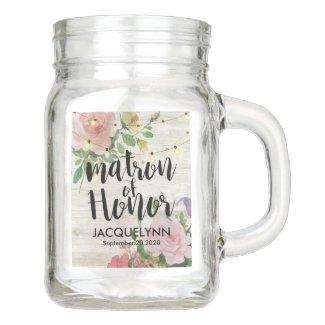 Wedding Matron of Honor Wood Floral String Lights Mason Jar