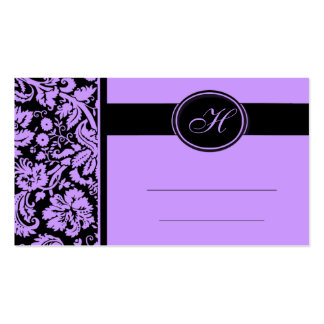 Wedding Meal Place Setting Cards, Lavender & Black Double-Sided Standard Business Cards (Pack Of 100)