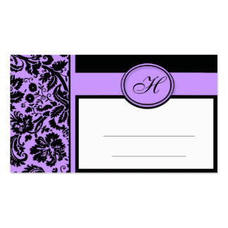 Wedding Meal Place Setting Cards Purple Black Business Cards