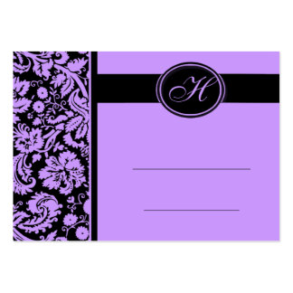 Wedding Meal Place Setting Cards, Purple Damask Large Business Card