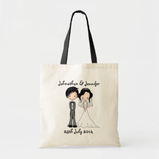 Wedding Memento Bride and Groom Cartoon Tote Bag