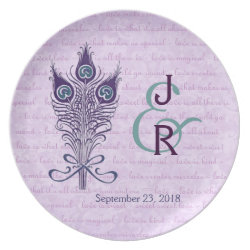 Wedding Memento Purple and Teal Peacock Feathers fuji_plate