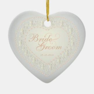 Wedding Memento - White Gold Rose - Heart Ornament