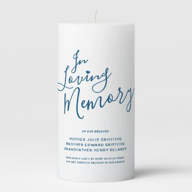 Wedding memorial blue white custom script text pillar candle