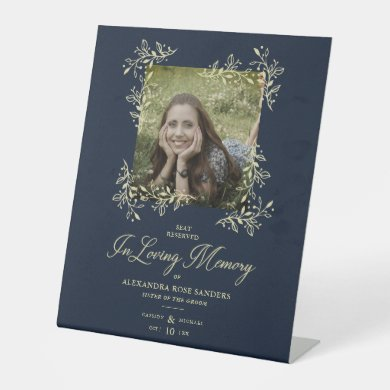 Wedding Memorial Table Hand Lettered Flourish Pedestal Sign