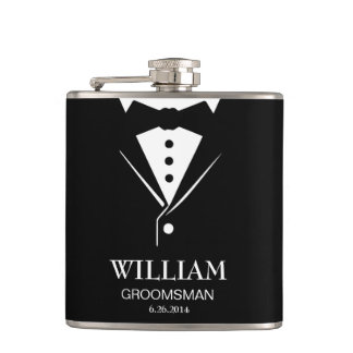 Wedding Mens Groom and Groomsmen Tuxedo Flask