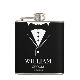 Wedding Mens Groom and Groomsmen Tuxedo Hip Flask