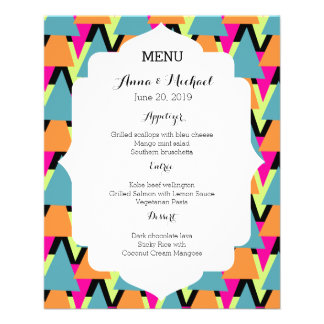 Wedding Menu 80's Style Geometric Pattern