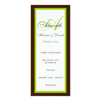 Wedding Menu and Reception Info Cards Brown Green