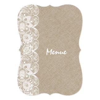 Wedding Menu Beige Linen White Vintage Lace Card