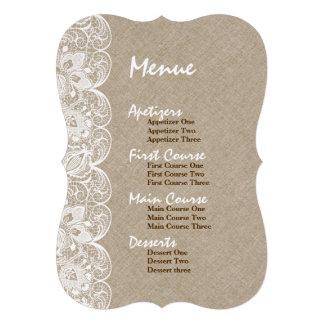Wedding Menu Beige Linen White Vintage Lace Personalized Invitations