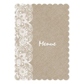 Wedding Menu Beige Linen White Vintage Lace 5x7 Paper Invitation Card