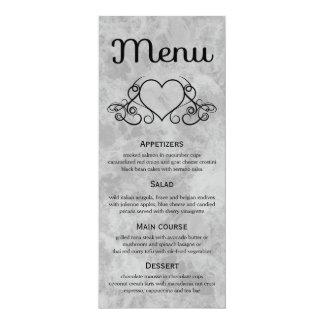 Wedding Menu Black And Gray Watercolor Heart Card