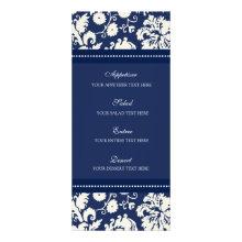 Wedding Menu Blue Floral Damask Custom Rack Card