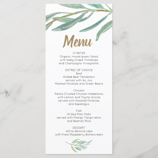 wedding menu bridal shower menu rustic greenery