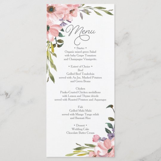 wedding menu bridal shower menu tea rose