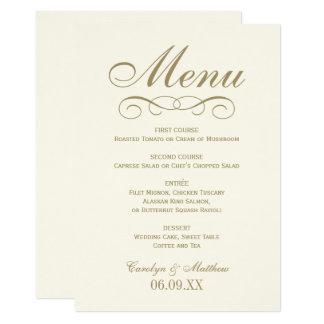 Wedding Menu Card | Antique Gold Flourish