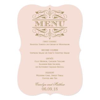 Wedding Menu Card | Antique Gold Flourish Personalized Invite