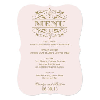 Wedding Menu Card | Antique Gold Flourish Announcement