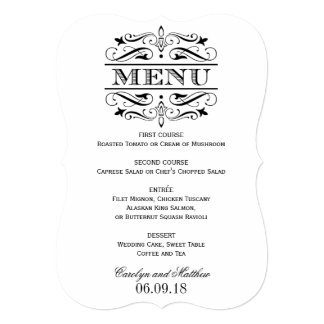 Wedding Menu Card   Black Elegant Flourish