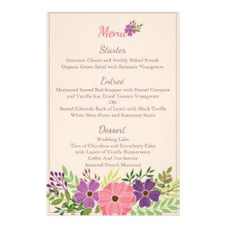 Wedding Menu Card in Wild Flower Theme