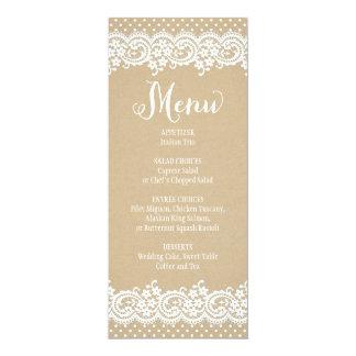 "Wedding Menu Card   Lace and Kraft 4"" X 9.25"" Invitation Card"