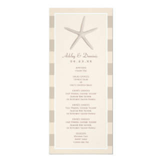 Wedding Menu Card | Neutral Starfish Stripes